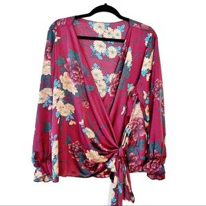 Tops - Floral Satiny Faux Wrap Top Silky Boho Chic